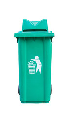 Large green garbage bin on white black ground