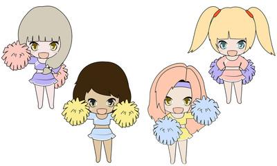Illustrator of four girls cheerleader
