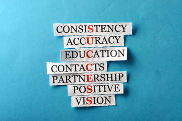 Success acronym in business concept, words on cut paper hard lig