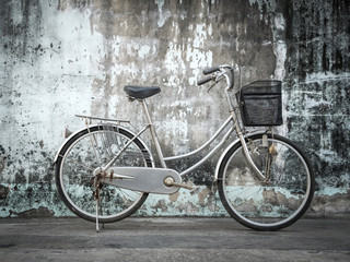 bicycle on grunge wall.
