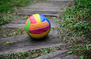 old worn volleyball