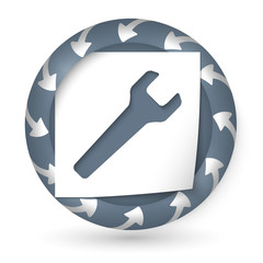 vector abstract icon with arrows and spanner