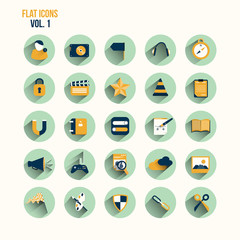 Modern flat icons vector collection with long shadow effect