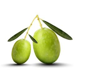 Fototapete - Oliva grande e oliva piccola sfondo bianco