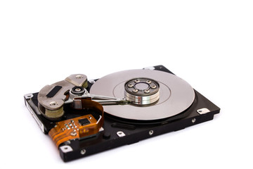 open hard drive isolated on white background
