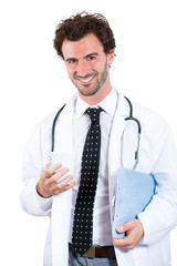 Portrait happy smiling Casual doctor isolated white background