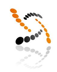 Abstract orange and grey symbol