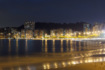 Night view Beach Icarai sea Niteroi