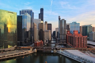 Self adhesive Wall Murals Chicago Chicago River from above