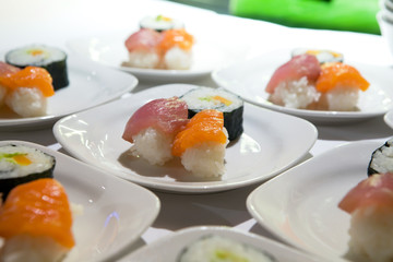 Japanese sushi food on the plate