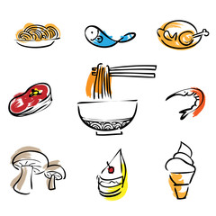 Food restaurant brush line icons