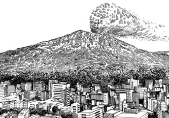 Volcano and a City