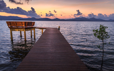 Wooden walk way with twilight scence