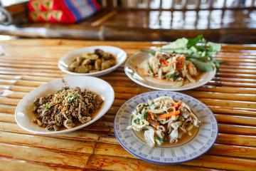 Thai launch/dinner set  on bamboo background