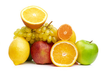 Composition with fruits isolated on a white