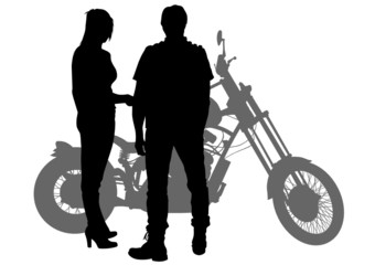 Wall Mural - Couple bikers