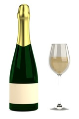 realistic 3d render of champagne