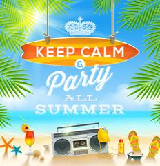 Summer beach party greeting design
