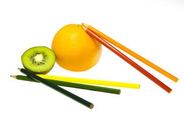 Orange and kiwi with pastels