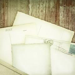 Retro styled image of old empty postcards