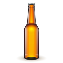 Glass Beer Brown Bottle On White Background Isolated