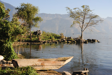 The coast of San Pedro on lake Atitlan
