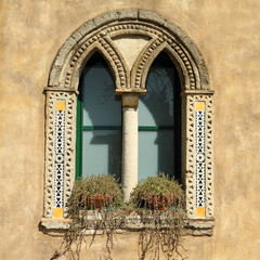 mullioned window in Villa Cimbrone in Ravello