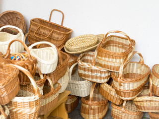 Handmade wicker baskets in farmers market