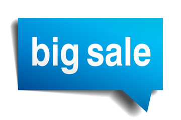 Big sale blue 3d realistic paper speech bubble isolated on white