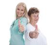 Ältere und jüngere Frau mit Daumen hoch - lachend isoliert