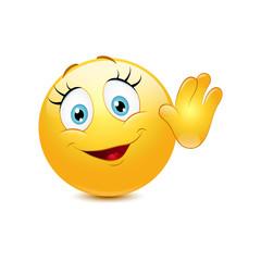 Female smiley waving hello