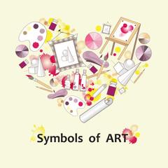 Stylized heart with symbols of art