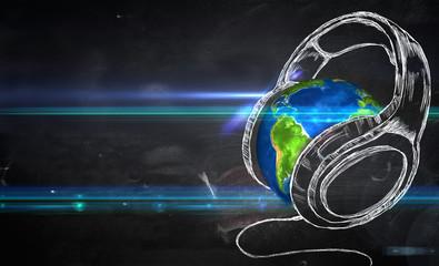 Earth Music Blackboard Background