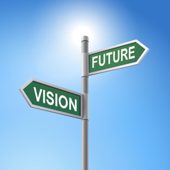 3d road sign saying vision and future