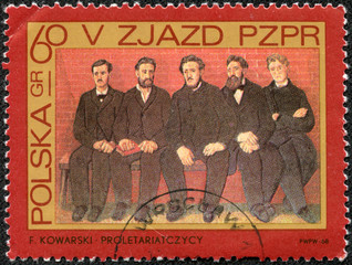 stamp printed in Poland, shows Party members by F. Kowarski