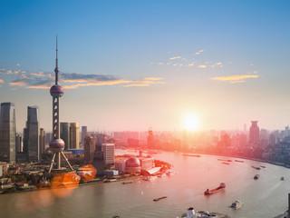 Aluminium Prints Shanghai shanghai in a beautiful dusk