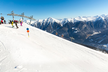 Cableway and chairlift in ski resort Bad Gastein in mountains