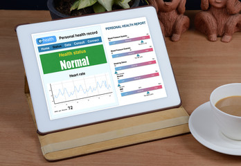 Wall Mural - e-health information show on tablet