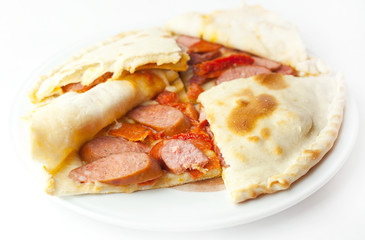 pizza with Bavarian sausages