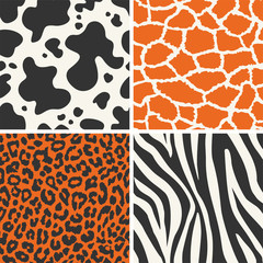 Collection of four seamless skin animal texture