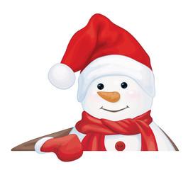 Vector  snowman hiding by blank isolated.