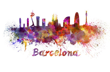 Wall Mural - Barcelona skyline in watercolor