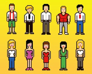 Set of pixel art people avatar icons, vector illustration