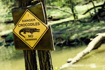 Danger crocodiles, no swimming