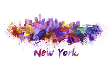 New York skyline in watercolor