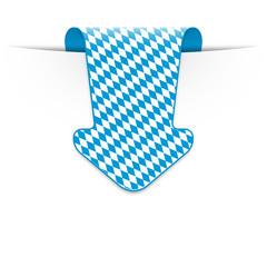 Pfeil mit bayerischer Rautenflagge von oben