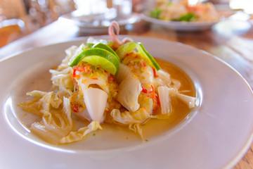 Spicy sea squid.Thailand Food