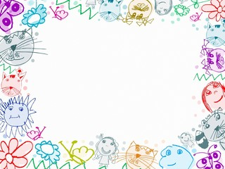 child scribbles drawings frame background