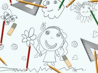 children's pencil girl drawing school desk