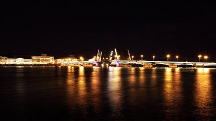 Night view of Bridge. St Petersburg, Russia